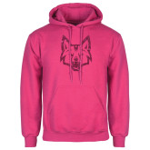 Fuchsia Fleece Hoodie-Mascot Head Hot Pink Glitter