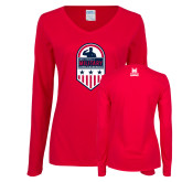Ladies Red Long Sleeve V Neck T Shirt-Military Appreciation Design