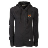 Ladies Under Armour Black Varsity Full Zip Hoodie-Mascot Head