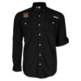 Columbia Bahama II Black Long Sleeve Shirt-Mascot Head