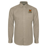 Khaki Twill Button Down Long Sleeve-Primary Mark