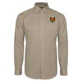 Khaki Twill Button Down Long Sleeve-Mascot Head