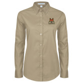 Ladies Khaki Twill Button Down Long Sleeve-Primary Mark