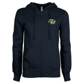 ENZA Ladies Navy Fleece Full Zip Hoodie-GU