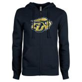 ENZA Ladies Navy Fleece Full Zip Hoodie-GU Bison