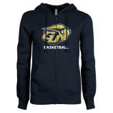 ENZA Ladies Navy Fleece Full Zip Hoodie-Basketball