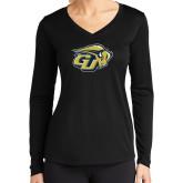 Ladies Syntrel Performance Black Longsleeve Shirt-GU Bison