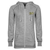 ENZA Ladies Grey/Black Marled Full Zip Hoodie-GU Bison