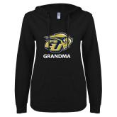 ENZA Ladies Black V Notch Raw Edge Fleece Hoodie-Grandma