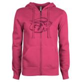 ENZA Ladies Fuchsia Fleece Full Zip Hoodie-GU Bison Hot Pink Glitter