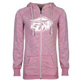 ENZA Ladies Hot Pink Marled Full Zip Hoodie-GU Bison
