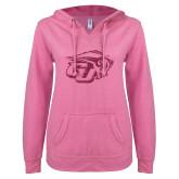 ENZA Ladies Hot Pink V Notch Raw Edge Fleece Hoodie-GU Bison Hot Pink Glitter