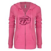 ENZA Ladies Hot Pink Light Weight Fleece Full Zip Hoodie-GU Bison Hot Pink Glitter
