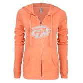 ENZA Ladies Coral Light Weight Fleece Full Zip Hoodie-GU Bison White Soft Glitter