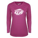 Ladies Syntrel Performance Raspberry Longsleeve Shirt-GU Bison