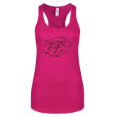 Next Level Ladies Raspberry Ideal Racerback Tank-GU Bison Hot Pink Glitter