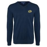 Classic Mens V Neck Navy Sweater-GU Bison