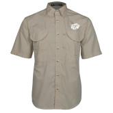 Khaki Short Sleeve Performance Fishing Shirt-GU Bison