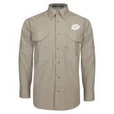 Khaki Long Sleeve Performance Fishing Shirt-GU Bison