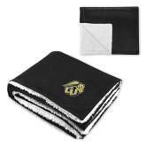 Super Soft Luxurious Black Sherpa Throw Blanket-GU Bison
