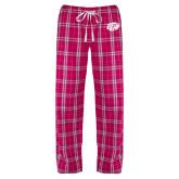 Ladies Dark Fuchsia/White Flannel Pajama Pant-GU Bison