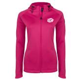 Ladies Tech Fleece Full Zip Hot Pink Hooded Jacket-GU Bison