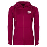 Ladies Sport Wick Stretch Full Zip Deep Berry Jacket-GU Bison