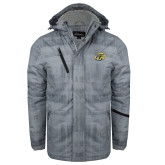 Grey Brushstroke Print Insulated Jacket-GU Bison