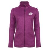 Dark Pink Heather Ladies Fleece Jacket-GU Bison