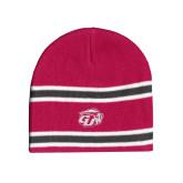 Pink/Charcoal/White Striped Knit Beanie-GU Bison