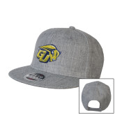 Heather Grey Wool Blend Flat Bill Snapback Hat-GU Bison
