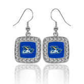 Crystal Studded Square Pendant Silver Dangle Earrings-GBC