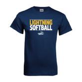 Navy T Shirt-Softball Stacked