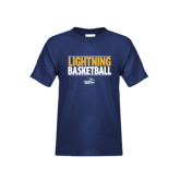 Youth Navy T Shirt-Basketball Stacked
