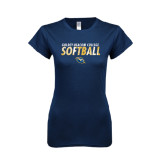 Next Level Ladies SoftStyle Junior Fitted Navy Tee-Softball Texture Stacked