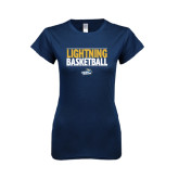 Next Level Ladies SoftStyle Junior Fitted Navy Tee-Basketball Stacked