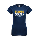 Next Level Ladies SoftStyle Junior Fitted Navy Tee-Soccer Stacked