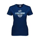 Ladies Navy T Shirt-Basketball Net Design