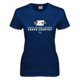 Ladies Navy T Shirt-Cross Country Arrow Design