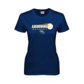 Ladies Navy T Shirt-Baseball Ball Design