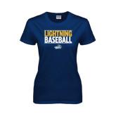 Ladies Navy T Shirt-Baseball Stacked