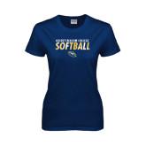 Ladies Navy T Shirt-Softball Texture Stacked