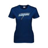 Ladies Navy T Shirt-Goldey-Beacom Lightning