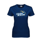 Ladies Navy T Shirt-Goldey-Beacom Official Logo Distressed
