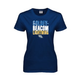 Ladies Navy T Shirt-Goldey-Beacom Lightning Stacked
