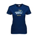 Ladies Navy T Shirt-Soccer
