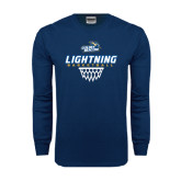 Navy Long Sleeve T Shirt-Basketball Net Design