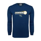 Navy Long Sleeve T Shirt-Baseball Ball Design
