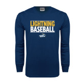 Navy Long Sleeve T Shirt-Baseball Stacked