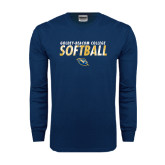 Navy Long Sleeve T Shirt-Softball Texture Stacked
